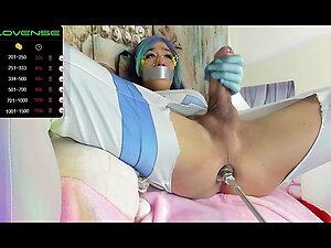 Asian ladyboy fucking machine