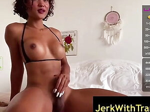 Perfect Thai Ladyboy Lydia Mygal Jerking Off on Webcam