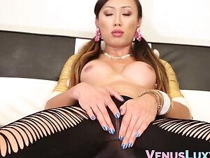 Adorable ladyboy Venus Lux masturbates and cums solo