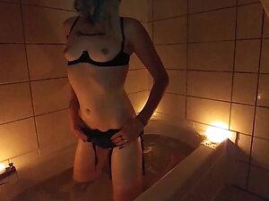 Goth TS Sensual Smoky Bath Stroking Cock  - Sarina Havok