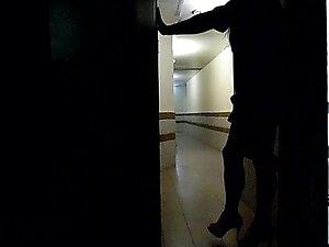 Tranny public jerking in hotel hallway