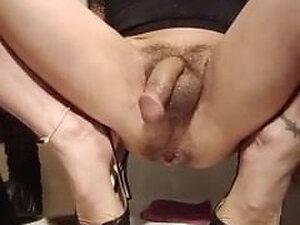 Asian ts rides big dildo in the bathroom