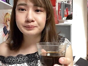 Daughter of a man drinking coffee with semen