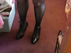 Fishnet and new high heels. Xx