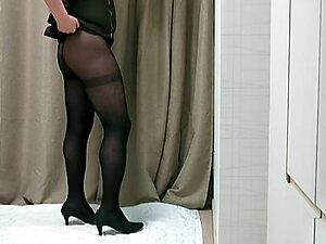 tight dress with black pantyhose