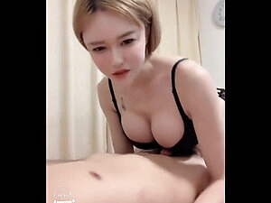 Asian Ladyboy super beautiful with a client eat semen