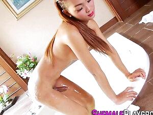 Asian tgirl jerks dick masturbating