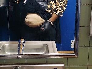 Stroking in the Women's Restroom (Precum) Female Masking