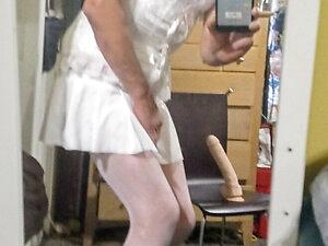 Analandrea dressed in white lingerie riding huge cock