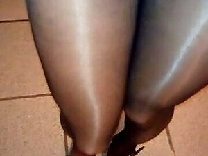 very sexy legs in black pantyhose