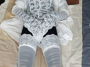 doll with white lace lingerie