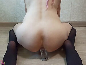 Tgirl rides on big dildo with sperm in ass - CutePinkUnicorn