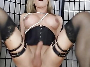 German amateur shemale destroys her ass and cums hard