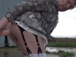 transgender travesti  dildo anal  lingerie outdoor 59
