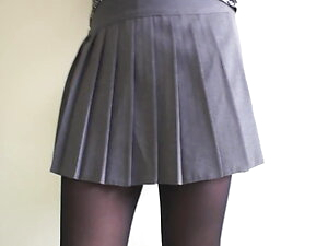 Grey Pleated Mini skirt Pantyhose & G string