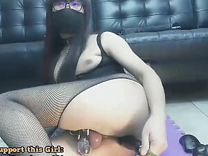 Petite Shemale In Chastity Using Dildo In Her Ass