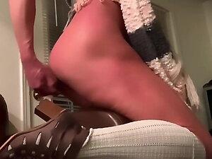 LICKS HER OWN Wet Sissy Cum off Dirty Floor HOT DILDO ANAL