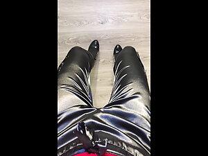 Walking In Shiny Satin Pants POV