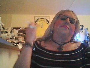 Blonde TS  whore smoking