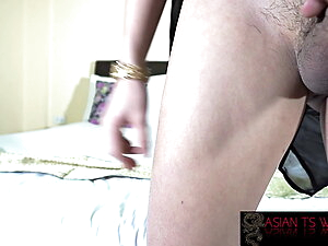 Petite trans doll wanking her cock