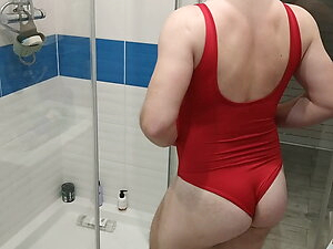 Sexy baewatch babewatch Red one piece swimsuit