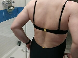 Sexy Black one piece swimsuit push up