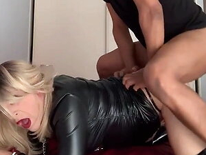 French bitch blonde sexy hot shemale fetish latex rubber