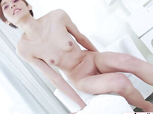 Small tits ladyboy Jenny G jacking off her uncut cock solo