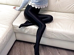Black super shiny spandex pantyhose try on