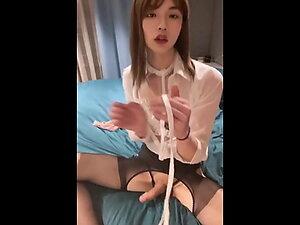 sissy ladyboy wearing panties and stockings jerking off cock