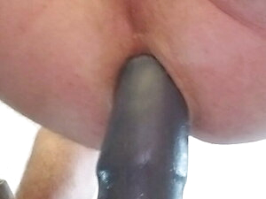 Long toy pounding sissy. Close up