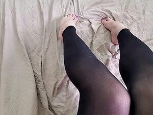 Crossdresser showing off POV cum on feet harpercharli